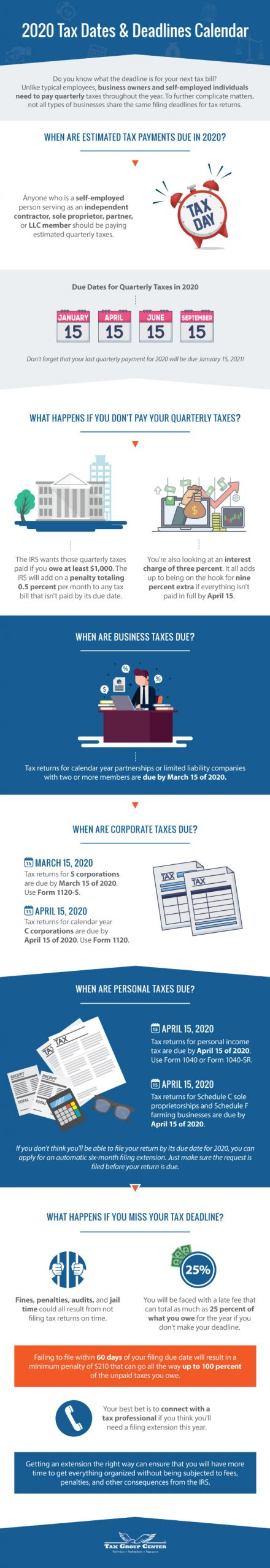 2020 Tax Dates & Deadlines Calendar