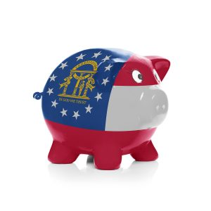 Georgia state flag over piggy bank for taxes